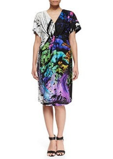 Marina Rinaldi Eiffel Printed Short-Sleeve Dress