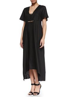 Marina Rinaldi Evento Linen Long Solid Dress, Women's