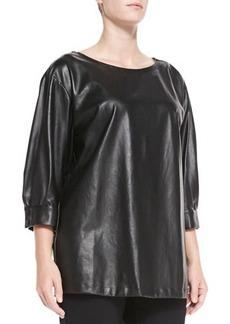 Marina Rinaldi Faretra Faux-Leather Blouse, Women's