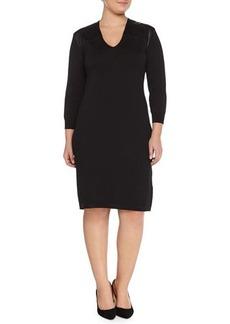 Marina Rinaldi Ginger Knit Dress W/ Leatherette Yoke