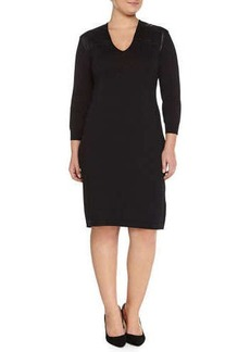 Marina Rinaldi Ginger Knit Dress W/ Leatherette Yoke