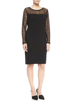 Marina Rinaldi Gio Wool Lace-Detail Long-Sleeve Dress, Women's