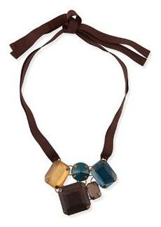 Marina Rinaldi Lode Crystal Necklace, Brown/Blue