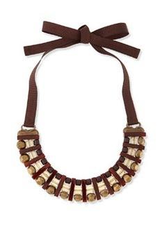 Marina Rinaldi Lodevole Horseshoe Bib Necklace, Brown