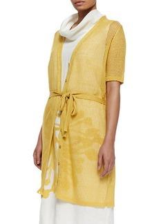 Marina Rinaldi Mecenate Semi-Sheer Tie-Waist Cardigan, Women's