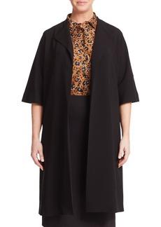 Marina Rinaldi, Plus Size Crepe Long Open-Front Jacket