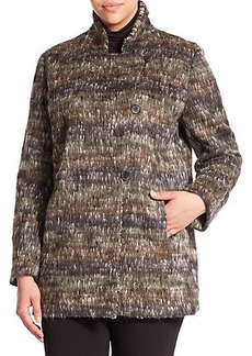 Marina Rinaldi, Plus Size Noisette Alpaca-Blend Caban Coat