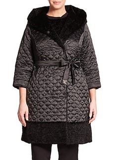 Marina Rinaldi, Plus Size Passo Reversible Faux Fur Coat