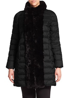 Marina Rinaldi, Plus Size Pepita Fur-Trimmed Puffer Coat