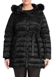 Marina Rinaldi, Plus Size Reversible Fur-Trimmed Down Coat