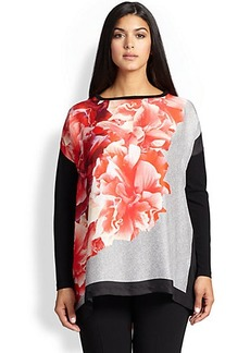 Marina Rinaldi, Sizes 14-24 Avocado Floral-Print Sweater