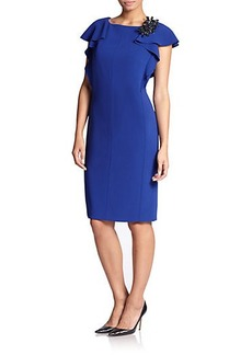 Marina Rinaldi, Sizes 14-24 Crepe Ruffled Dress
