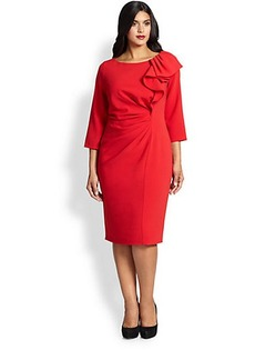 Marina Rinaldi, Sizes 14-24 Dedalo Ruffle-Collar Dress