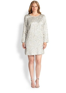 Marina Rinaldi, Sizes 14-24 Fonte Rose Jacquard Dress