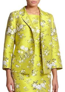 Marina Rinaldi, Sizes 14-24 Jacquard Floral-Print Jacket