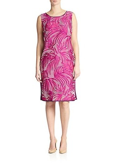 Marina Rinaldi, Sizes 14-24 Jacquard Leaf-Print Dress