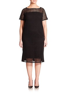Marina Rinaldi, Sizes 14-24 Jersey Macramé-Yoke Dress