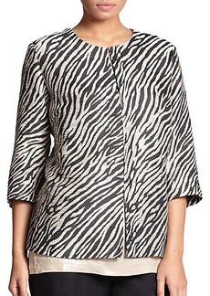 Marina Rinaldi, Sizes 14-24 Printed Jacquard Jacket