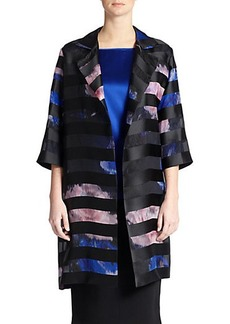 Marina Rinaldi, Sizes 14-24 Printed Satin-Striped Jacket