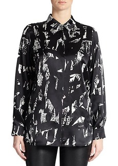 Marina Rinaldi, Sizes 14-24 Silk Brushstroke-Pattern Blouse