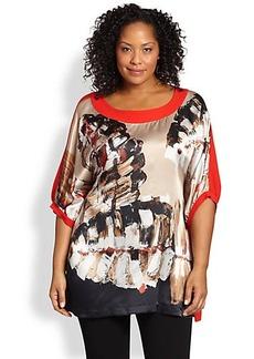 Marina Rinaldi, Sizes 14-24 Silk Leaf-Print Shirt