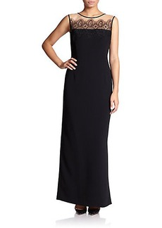 Marina Rinaldi, Sizes 14-24 Sleeveless Lace-Detail Gown