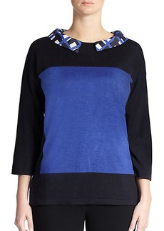 Marina Rinaldi, Sizes 14-24 Wool & Silk Colorblock Sweater