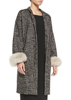 Marina Rinaldi Talia Fur-Cuffed Tweed Coat, Women's