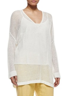 Marina Rinaldi Udito Sheer-Hemp V-Neck Blouse, Women's