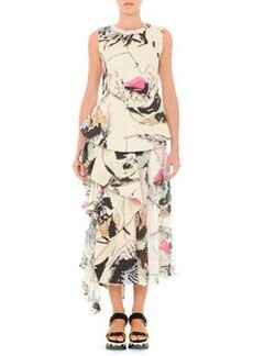 Abstract Printed Top with Side Flounce   Abstract Printed Top with Side Flounce