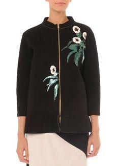 Embellished Bonded Zip Jacket   Embellished Bonded Zip Jacket