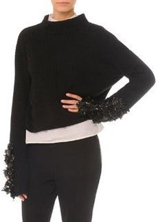 Embellished Split-Back Sweater   Embellished Split-Back Sweater