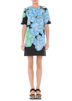 Jewel-Neck Floral-Print Shift Dress, Powder Blue   Jewel-Neck Floral-Print Shift Dress, Powder Blue