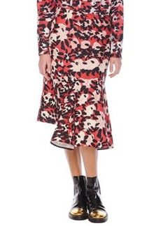 Marni Abstract Floral-Print Skirt with Side Godet
