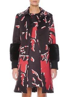 Marni Beaver Fur-Cuffed Macro-Floral-Print Coat