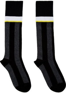 Marni Black & Grey Striped Tall Socks