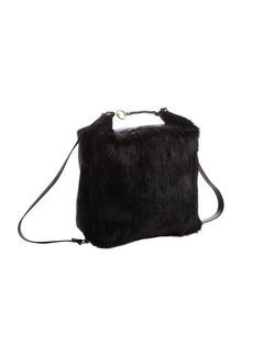 Marni black leather and fur detail 'Castorino' backpack