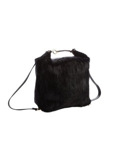 Marni black leather and fur detail 'Castorino' backpack