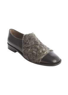 Marni black leather and persian lamb square toe loafers