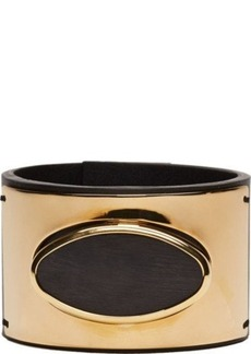 Marni Black Leather Gold Set Horn Bracelet