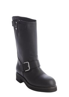 Marni black leather silvertone bucklestrap boots