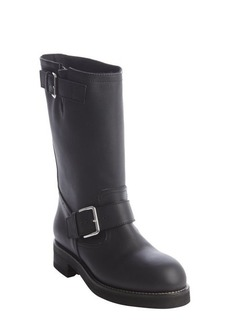 Marni black leather silvertone bucklestrap boots