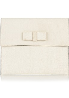Marni Bow-embellished cracked-leather clutch
