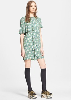 Marni Buttercup Print Woven Dress with Ruffle Detail