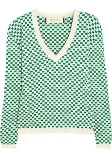 Marni Checked stretch-knit jacquard sweater