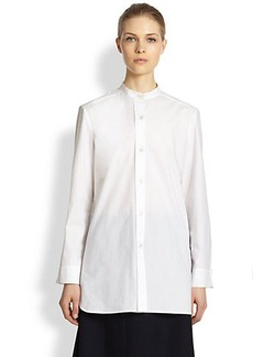 Marni Collarless Cotton Poplin Shirt