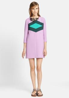 Marni Contrast Diamond Wool & Cotton Crepe Dress