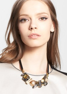 Marni Crystal Station Leather Necklace