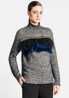 Marni Embellished Feather Fringe Turtleneck Sweater