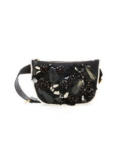 Marni Embroidered & Beaded Belt Bag, Black/White